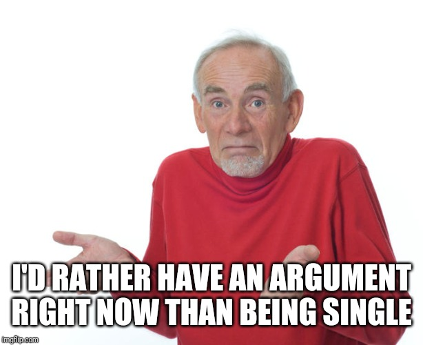 I'D RATHER HAVE AN ARGUMENT RIGHT NOW THAN BEING SINGLE | image tagged in guess ill die | made w/ Imgflip meme maker