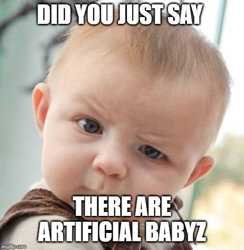 Skeptical Baby Meme | DID YOU JUST SAY THERE ARE ARTIFICIAL BABYZ | image tagged in memes,skeptical baby | made w/ Imgflip meme maker