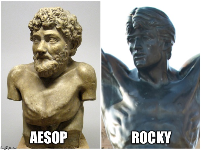 AESOP                        ROCKY | image tagged in aesop,rocky,statue | made w/ Imgflip meme maker