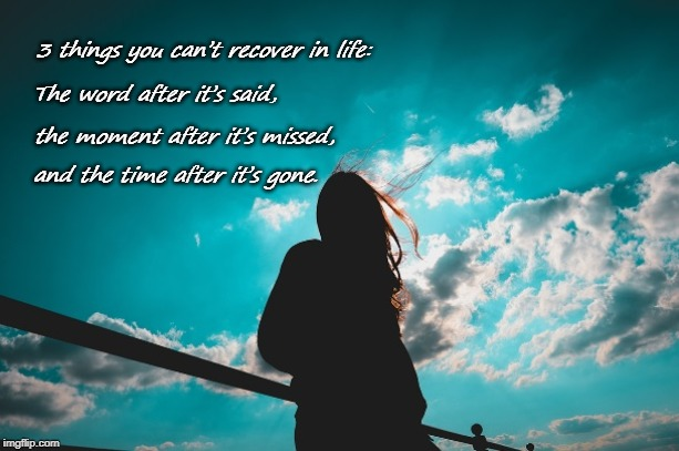 3 things you can't recover in life: The word after it's said, the moment after it's missed, and the time after it's gone. | image tagged in missed the point,last words,too late,that awkward moment | made w/ Imgflip meme maker