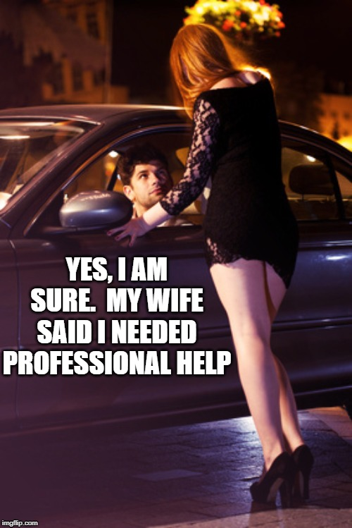 Professional help. | YES, I AM SURE.  MY WIFE SAID I NEEDED PROFESSIONAL HELP | image tagged in hooker,help,medical help,professional,pros | made w/ Imgflip meme maker