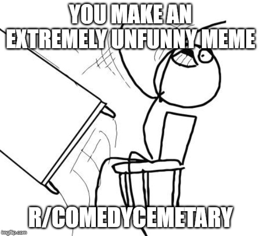 Table Flip Guy Meme | YOU MAKE AN EXTREMELY UNFUNNY MEME R/COMEDYCEMETARY | image tagged in memes,table flip guy | made w/ Imgflip meme maker