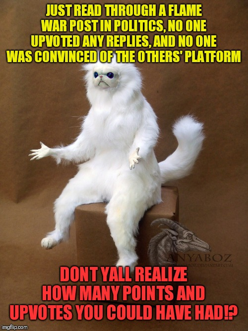 And nothing was accomplished | JUST READ THROUGH A FLAME WAR POST IN POLITICS, NO ONE UPVOTED ANY REPLIES, AND NO ONE WAS CONVINCED OF THE OTHERS' PLATFORM DONT YALL REALI | image tagged in memes,persian cat room guardian single,wtf,politics,upvotes,really | made w/ Imgflip meme maker