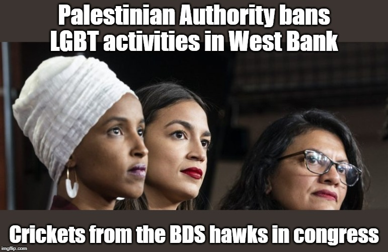 Hypocrite Crickets from the squad on Palestinian Authority anti-LGBT | Palestinian Authority bans LGBT activities in West Bank Crickets from the BDS hawks in congress | image tagged in aoc,ilhan omar,rashaida tlaib,lgbt,lgbtq,bds movement | made w/ Imgflip meme maker