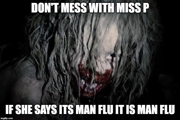 Man flu | DON'T MESS WITH MISS P IF SHE SAYS ITS MAN FLU IT IS MAN FLU | image tagged in man flu | made w/ Imgflip meme maker