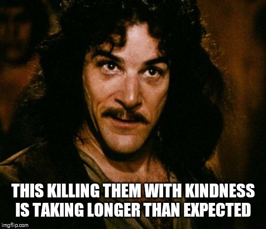 Patience Is A Virtue | THIS KILLING THEM WITH KINDNESS IS TAKING LONGER THAN EXPECTED | image tagged in inigo montoya,patience,killing,kindness | made w/ Imgflip meme maker