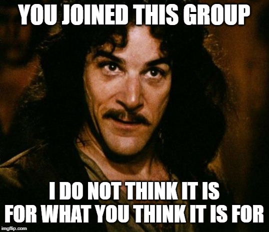 Inigo Montoya | YOU JOINED THIS GROUP I DO NOT THINK IT IS FOR WHAT YOU THINK IT IS FOR | image tagged in memes,inigo montoya | made w/ Imgflip meme maker