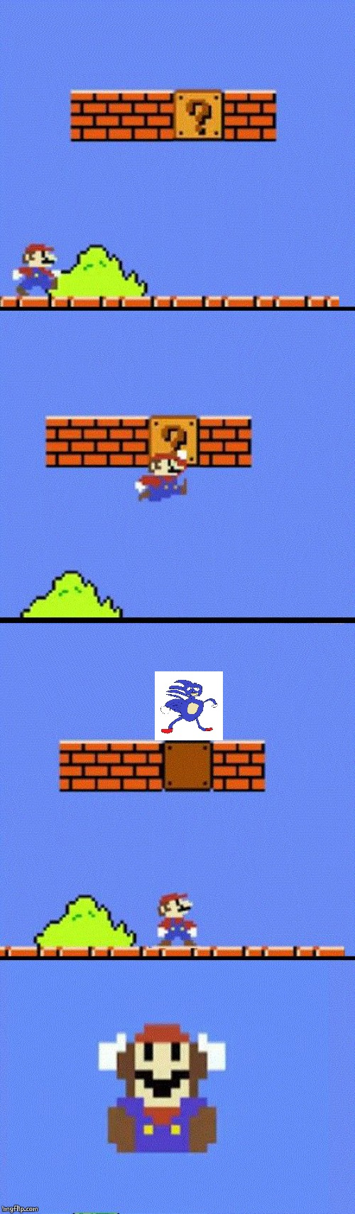 SANIC? | image tagged in mario dies,sanic,video games | made w/ Imgflip meme maker