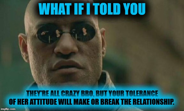 Male Wisdom | WHAT IF I TOLD YOU THEY'RE ALL CRAZY BRO, BUT YOUR TOLERANCE OF HER ATTITUDE WILL MAKE OR BREAK THE RELATIONSHIP. | image tagged in matrix morpheus,morpheus,funny memes,dark humor,inspirational memes | made w/ Imgflip meme maker