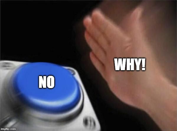 Blank Nut Button Meme | WHY! NO | image tagged in memes,blank nut button | made w/ Imgflip meme maker