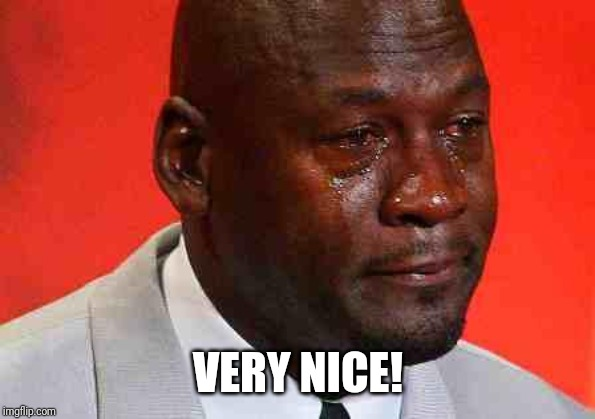 crying michael jordan | VERY NICE! | image tagged in crying michael jordan | made w/ Imgflip meme maker