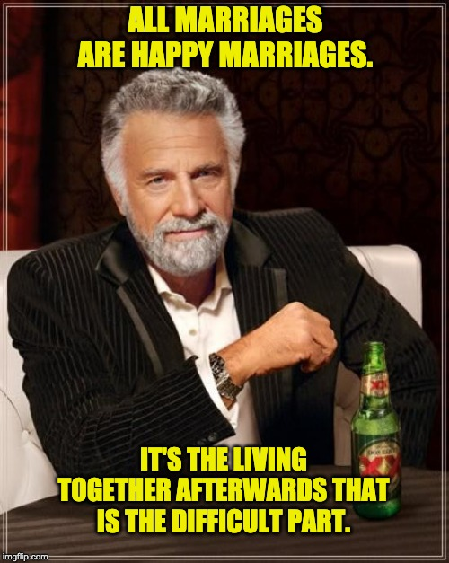 The Most Interesting Man In The World Meme | ALL MARRIAGES ARE HAPPY MARRIAGES. IT'S THE LIVING TOGETHER AFTERWARDS THAT IS THE DIFFICULT PART. | image tagged in memes,the most interesting man in the world | made w/ Imgflip meme maker