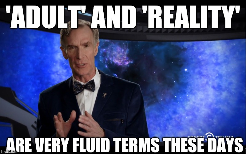 Bill Nye | 'ADULT' AND 'REALITY' ARE VERY FLUID TERMS THESE DAYS | image tagged in bill nye | made w/ Imgflip meme maker
