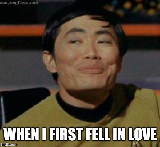 sulu | WHEN I FIRST FELL IN LOVE | image tagged in sulu | made w/ Imgflip meme maker