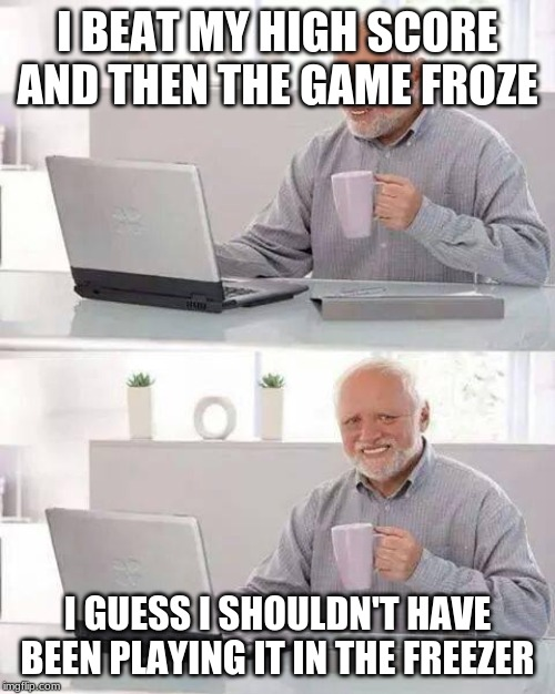 What? Would you rather I play it in the oven? |  I BEAT MY HIGH SCORE AND THEN THE GAME FROZE; I GUESS I SHOULDN'T HAVE BEEN PLAYING IT IN THE FREEZER | image tagged in memes,hide the pain harold | made w/ Imgflip meme maker