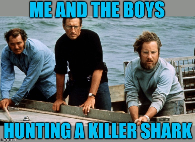 You're gonna need a longer week. Me and the Boys Week Aug 19th-25th (a Nixie.Knox and CravenMoordik event) | ME AND THE BOYS HUNTING A KILLER SHARK | image tagged in me and the boys week,jaws,going to need a bigger boat,matrix morpheus,nixieknox,cravenmoordik | made w/ Imgflip meme maker