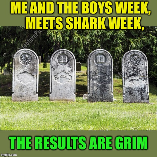 Shark = 4, Boys = 0  /  Me and the Boys Week-Aug 19th-25th (A Nixie.Knox and CravenMoordik event) | ME AND THE BOYS WEEK,     MEETS SHARK WEEK, THE RESULTS ARE GRIM | image tagged in me and the boys week,shark week | made w/ Imgflip meme maker