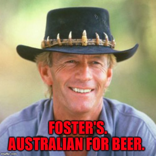 australianguy | FOSTER'S. AUSTRALIAN FOR BEER. | image tagged in australianguy | made w/ Imgflip meme maker