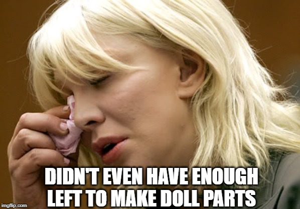 courtney love | DIDN'T EVEN HAVE ENOUGH LEFT TO MAKE DOLL PARTS | image tagged in courtney love | made w/ Imgflip meme maker