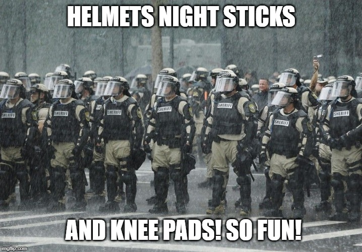 Riot Police Rain Storm | HELMETS NIGHT STICKS AND KNEE PADS! SO FUN! | image tagged in riot police rain storm | made w/ Imgflip meme maker