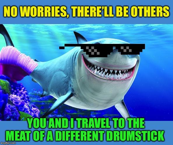 Happy Shark | NO WORRIES, THERE'LL BE OTHERS YOU AND I TRAVEL TO THE MEAT OF A DIFFERENT DRUMSTICK | image tagged in happy shark | made w/ Imgflip meme maker