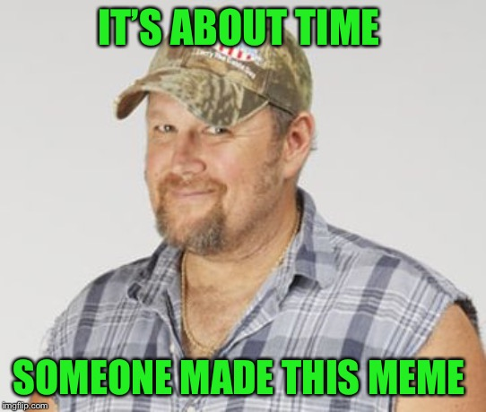 Larry The Cable Guy Meme | IT'S ABOUT TIME SOMEONE MADE THIS MEME | image tagged in memes,larry the cable guy | made w/ Imgflip meme maker