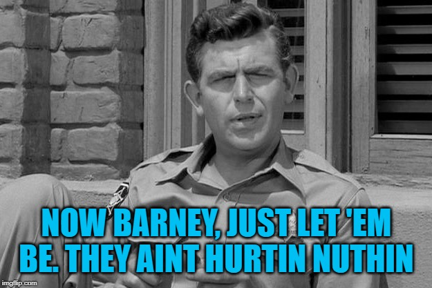 Andy Griffith trump  | NOW BARNEY, JUST LET 'EM BE. THEY AINT HURTIN NUTHIN | image tagged in andy griffith trump | made w/ Imgflip meme maker