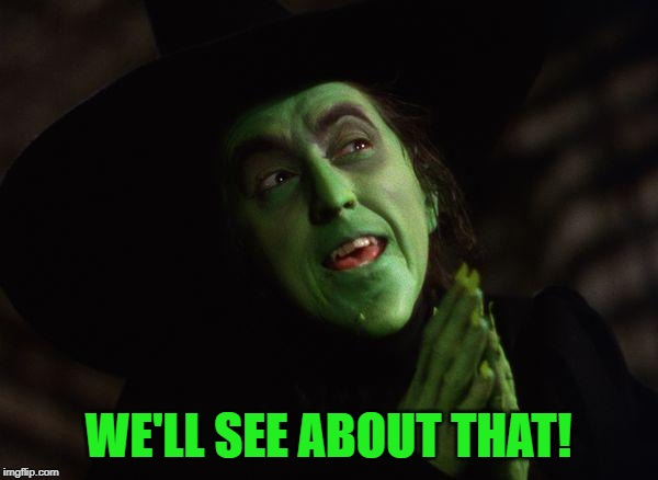 Wicked Witch West | WE'LL SEE ABOUT THAT! | image tagged in wicked witch west | made w/ Imgflip meme maker