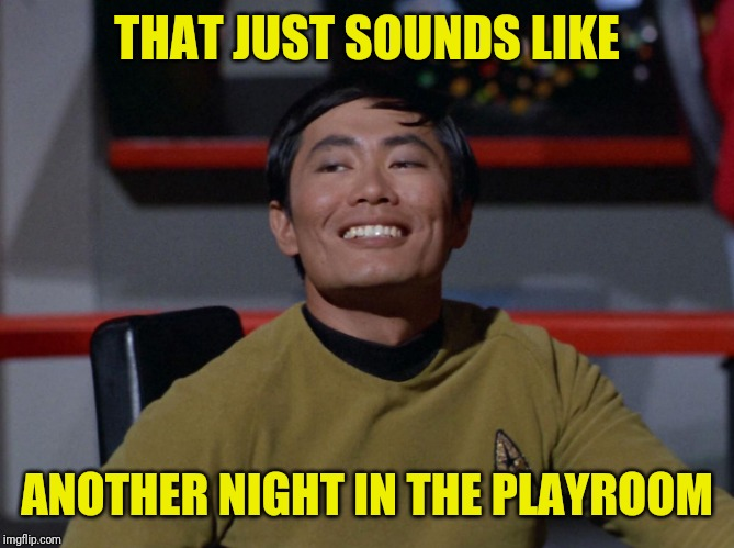 Sulu smug | THAT JUST SOUNDS LIKE ANOTHER NIGHT IN THE PLAYROOM | image tagged in sulu smug | made w/ Imgflip meme maker