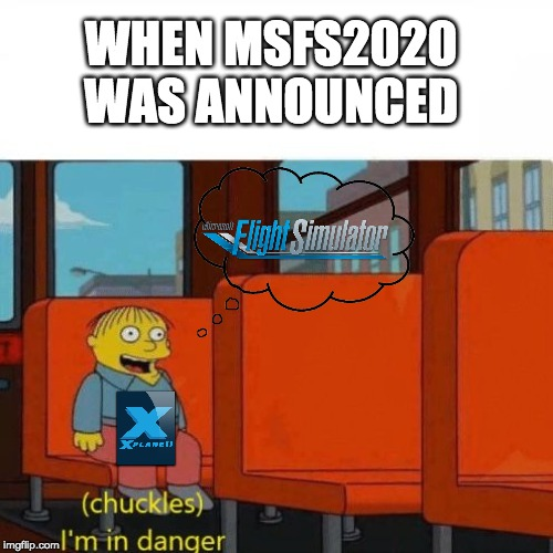Chuckles, I'm in danger | WHEN MSFS2020 WAS ANNOUNCED | image tagged in chuckles im in danger | made w/ Imgflip meme maker