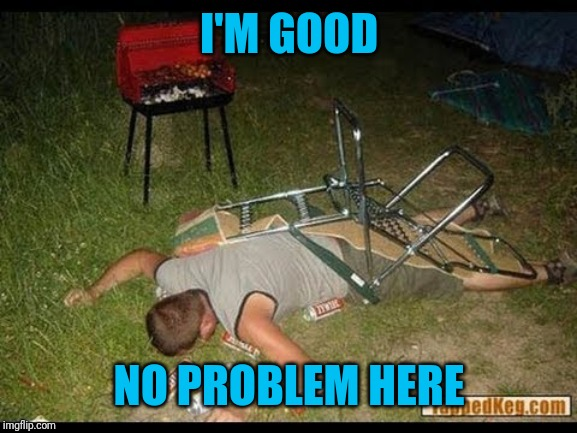 Pass Out Drunk | I'M GOOD NO PROBLEM HERE | image tagged in pass out drunk | made w/ Imgflip meme maker