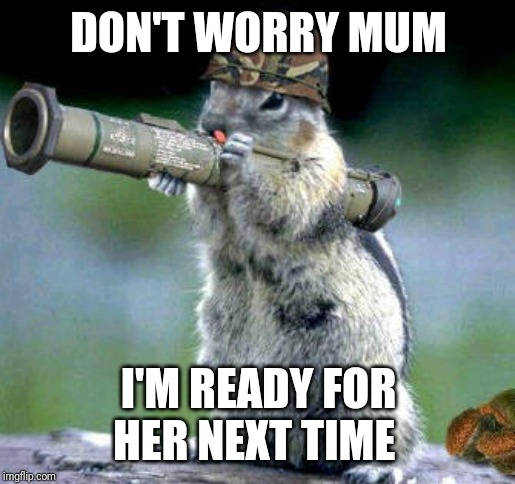 Bazooka Squirrel | DON'T WORRY MUM I'M READY FOR HER NEXT TIME | image tagged in memes,bazooka squirrel | made w/ Imgflip meme maker