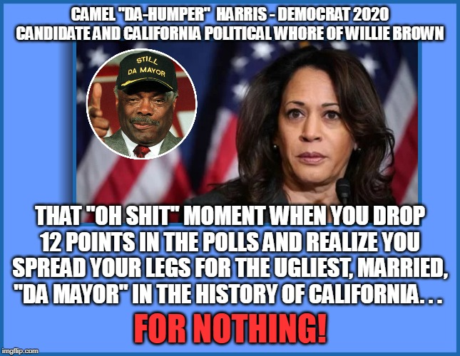 "CAMEL ""DA-HUMPER""  HARRIS - DEMOCRAT 2020 CANDIDATE AND CALIFORNIA POLITICAL W**RE OF WILLIE BROWN THAT ""OH SHIT"" MOMENT WHEN YOU DROP 12 PO 