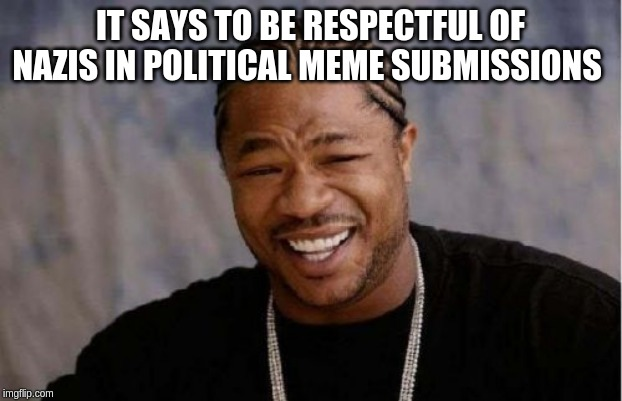 Yo Dawg Heard You | IT SAYS TO BE RESPECTFUL OF NAZIS IN POLITICAL MEME SUBMISSIONS | image tagged in memes,yo dawg heard you | made w/ Imgflip meme maker