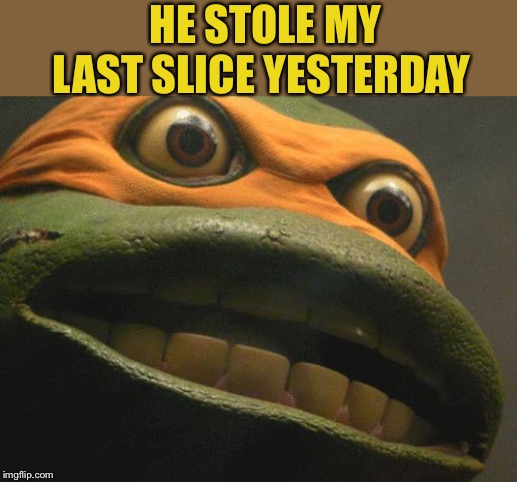 TMNT Mikey | HE STOLE MY LAST SLICE YESTERDAY | image tagged in tmnt mikey | made w/ Imgflip meme maker
