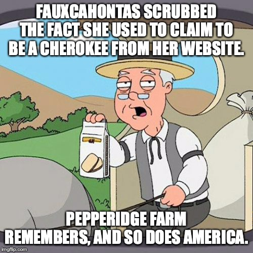 She still speaks with forked tongue. | FAUXCAHONTAS SCRUBBED THE FACT SHE USED TO CLAIM TO BE A CHEROKEE FROM HER WEBSITE. PEPPERIDGE FARM REMEMBERS, AND SO DOES AMERICA. | image tagged in 2019,elizabeth warren,election 2020,liar,indian,fauxcahontas | made w/ Imgflip meme maker