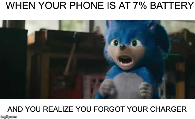 Sonic Screaming | WHEN YOUR PHONE IS AT 7% BATTERY AND YOU REALIZE YOU FORGOT YOUR CHARGER | image tagged in sonic screaming,charger,iphone,battery | made w/ Imgflip meme maker