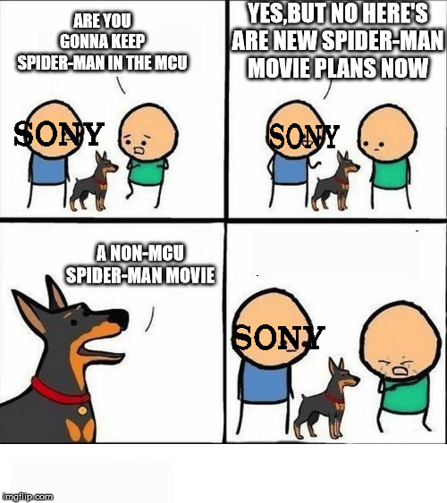 #SaveSpiderMan | ARE YOU GONNA KEEP SPIDER-MAN IN THE MCU YES,BUT NO HERE'S ARE NEW SPIDER-MAN MOVIE PLANS NOW A NON-MCU SPIDER-MAN MOVIE | image tagged in does your dog bite,memes,spider-man,marvel,mcu,sony raid | made w/ Imgflip meme maker