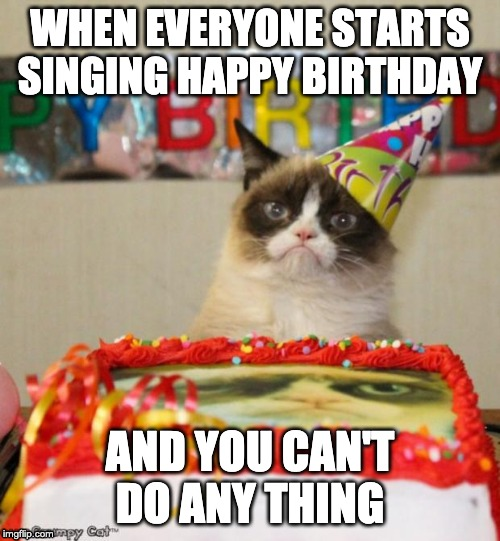 Grumpy Cat Birthday | WHEN EVERYONE STARTS SINGING HAPPY BIRTHDAY AND YOU CAN'T DO ANY THING | image tagged in memes,grumpy cat birthday,grumpy cat | made w/ Imgflip meme maker