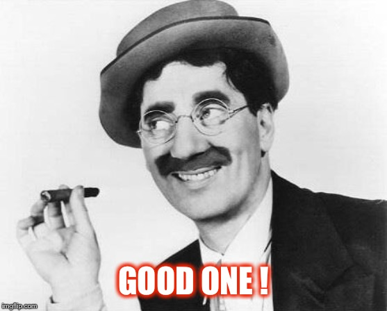 Groucho Marx | GOOD ONE ! | image tagged in groucho marx | made w/ Imgflip meme maker