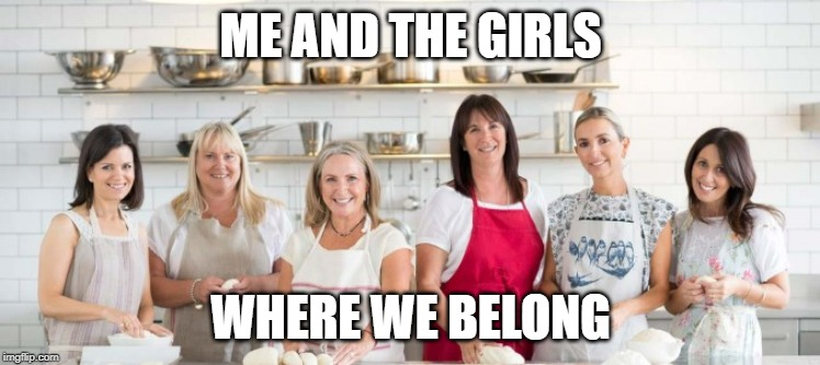 Me and the boys week! A CravenMoordik and Nixie.Knox event! (Aug. 19-25) |  ME AND THE GIRLS; WHERE WE BELONG | image tagged in me and the boys week,stereotypes,women,kitchen | made w/ Imgflip meme maker