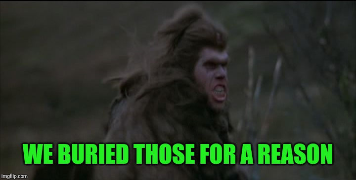 Ron Pearlman Cave Man Orc | WE BURIED THOSE FOR A REASON | image tagged in ron pearlman cave man orc | made w/ Imgflip meme maker