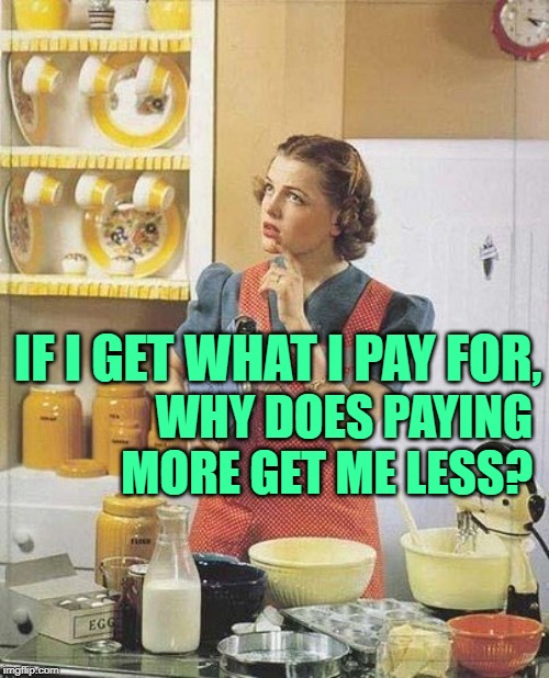 The PhilosoHousewife Goes Shopping | IF I GET WHAT I PAY FOR, WHY DOES PAYING MORE GET ME LESS? | image tagged in vintage kitchen query,housewife,economics,money,so true memes,good question | made w/ Imgflip meme maker