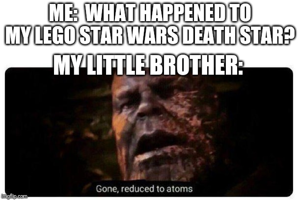 My beautiful masterpiece, GONE | ME:  WHAT HAPPENED TO MY LEGO STAR WARS DEATH STAR? MY LITTLE BROTHER: | image tagged in gone reduced to atoms,lego,star wars,death star,thanos,memes | made w/ Imgflip meme maker