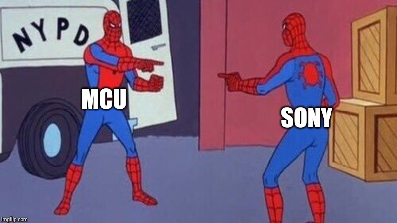 spiderman pointing at spiderman | MCU SONY | image tagged in spiderman pointing at spiderman | made w/ Imgflip meme maker