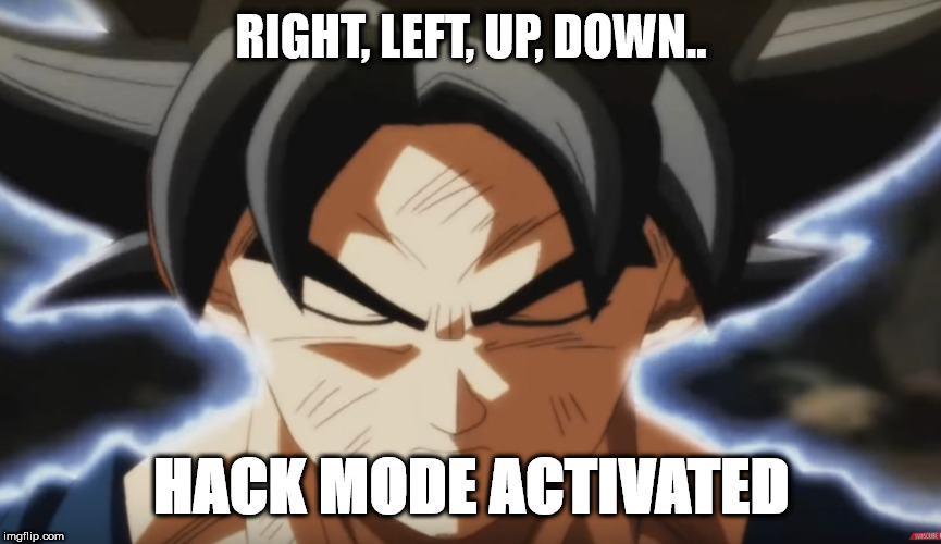 tHE hAckEr | RIGHT, LEFT, UP, DOWN.. HACK MODE ACTIVATED | image tagged in goku,ultra instinct,dbz,dbs,dragon ball super,dragon ball z | made w/ Imgflip meme maker