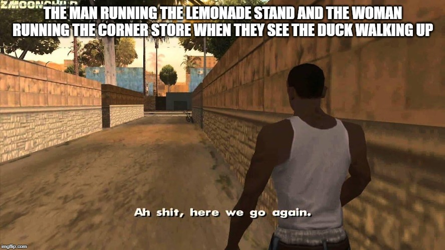 Here we go again | THE MAN RUNNING THE LEMONADE STAND AND THE WOMAN RUNNING THE CORNER STORE WHEN THEY SEE THE DUCK WALKING UP | image tagged in here we go again | made w/ Imgflip meme maker