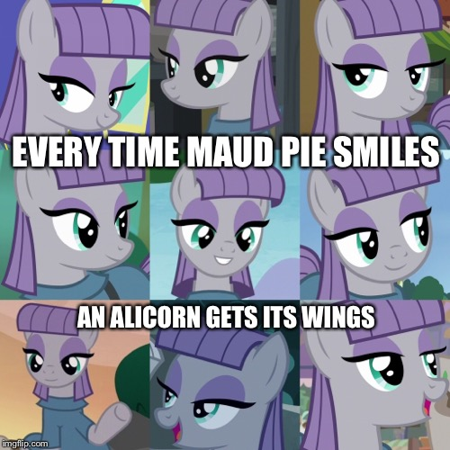 Maud Pie smiles | EVERY TIME MAUD PIE SMILES AN ALICORN GETS ITS WINGS | image tagged in mlp fim,cute,smiling | made w/ Imgflip meme maker