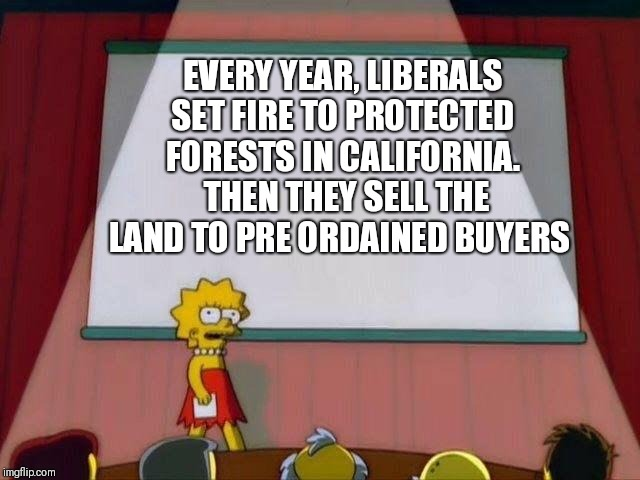Now the commies are doing it in Brazil |  EVERY YEAR, LIBERALS SET FIRE TO PROTECTED FORESTS IN CALIFORNIA.  THEN THEY SELL THE LAND TO PRE ORDAINED BUYERS | image tagged in lisa simpson's presentation | made w/ Imgflip meme maker