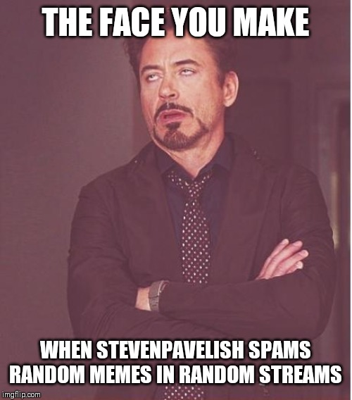 Face You Make Robert Downey Jr | THE FACE YOU MAKE WHEN STEVENPAVELISH SPAMS RANDOM MEMES IN RANDOM STREAMS | image tagged in memes,face you make robert downey jr | made w/ Imgflip meme maker